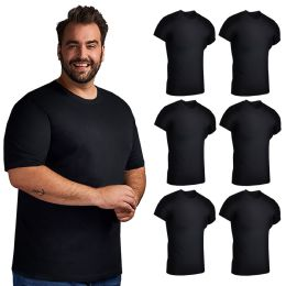 6 of Mens Cotton Crew Neck Short Sleeve T-Shirts Black, 3X-Large
