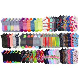 120 of Assorted Pack Of Womens Low Cut Printed Ankle Socks.