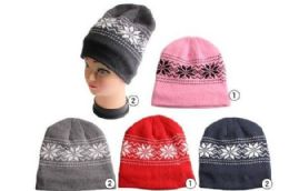72 of Winter Beanie Hat With Fleece Lining Snowflake Prints Assorted