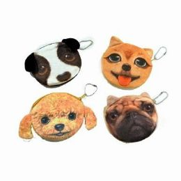 48 of Assorted Dog Face Coin Purse
