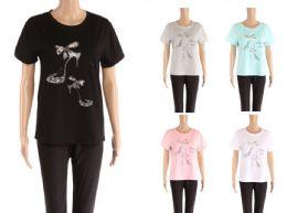 48 of Womens Rhinestone Shoe Print Tee Shirt