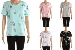 48 of Womens Floral Print Tee Shirt Assorted Colors