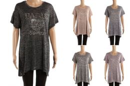 48 of Womens Long Tunic Tee Paris Print Assorted Color