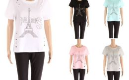 48 of Womens Tee Paris Print Assorted Color