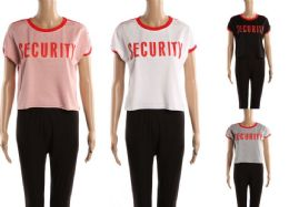 48 of Womens Tee Security Print Assorted Colors