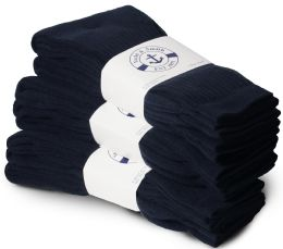 24 of Yacht & Smith Men's Cotton Terry Cushioned Crew Socks Navy Size 10-13 Bulk Packs
