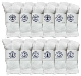 24 of Yacht & Smith Kids Cotton Terry Cushioned Crew Socks White Size 6-8 Bulk Pack