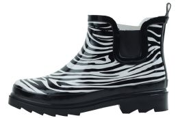 12 of Ladies Zebra Printed Rubber Rain Boots