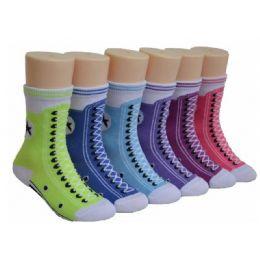 480 of Girls Sneaker Print Crew Socks