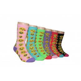 480 of Girls Emoji Face Crew Socks
