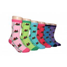 480 of Girls Ladybug Crew Socks