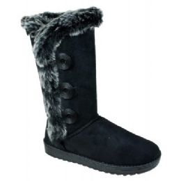 12 of Womens Button Fleece Boot In Black