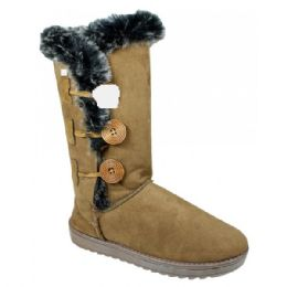 12 of Womens Button Fleece Boot In Tan