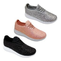 12 of Womens Glitter Lace Up Fashion Sneakers In Rose Gold