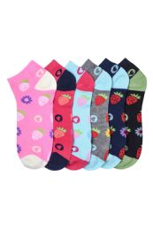 432 of Girls Printed Casual Spandex Ankle Socks Size 9-11 Berry Print