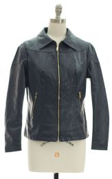 12 of Faux Leather Collar Jacket Navy