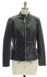 12 of Quilted Sleeve Faux Leather Jacket Black