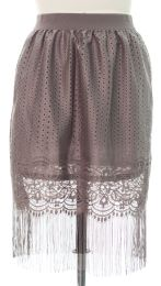 12 of Plus Plus Lace Shell Knee Length Skirt Grey