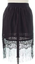 12 of Plus Plus Lace Shell Knee Length Skirt Black