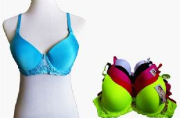60 of Fashion Padded Bras Packed Assorted Colors With Adjustable Straps