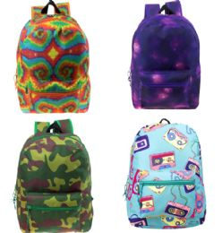 """24 of 17"""" Wholesale Kids Classic Padded Backpacks In 4 Assorted Unique Prints"""