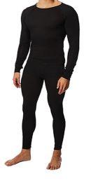 36 of Men's Black Thermal Cotton Underwear Top And Bottom Set, Size Medium
