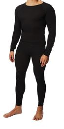 36 of Men's Black Thermal Cotton Underwear Top And Bottom Set, Size 2xlarge