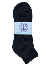 60 of Yacht & Smith Men's King Size Cotton Sport Ankle Socks Size 13-16 Solid Black Bulk Pack