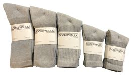 960 of Mixed Sizes Of Cotton Crew Socks For Men Woman Children In Solid Gray
