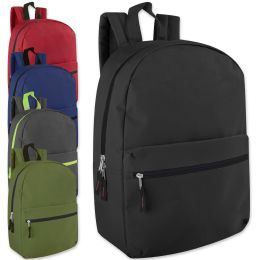 24 of 17 Inch Solid Backpack - 5 Colors