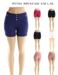 24 of Womens Fashion Solid Color Shorts With Gold Buttons In Assorted Color