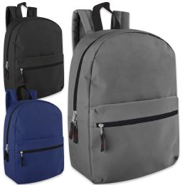 24 of 17 Inch Solid Backpack - 3 Color Assortment