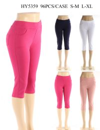 24 of Womens Capri Pants In Assorted Solid Colors