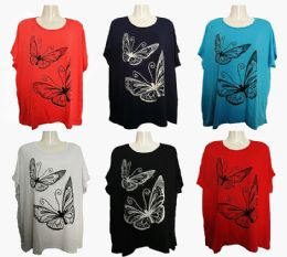 48 of Womens Butterfly Tee Shirt Assorted Color