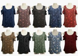 48 of Womens Assorted Color Star Tee