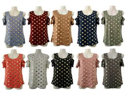 48 of Womens Assorted Color Gold Polka Dot Tee