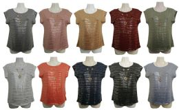 48 of Womens Assorted Color Shimmer Tee With Neckace