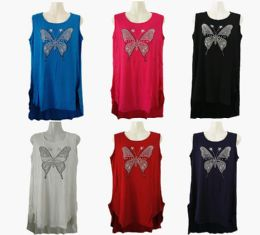 48 of Womens Assorted Color Butterfly Tank Top