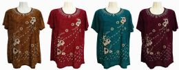 48 of Womens Assorted Color Floral Tee Shirt