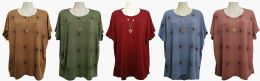 48 of Womens Assorted Color Tee With Necklace