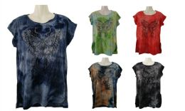 48 of Womens Assorted Color Tye Dye Butterfly Tee Shirt