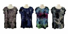 48 of Womens Assorted Color Tye Dye Star Tee Shirt