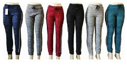 48 of Womens Assorted Color Pants With Stripe