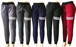 48 of Womens Winter Fur Lined Striped Joggers