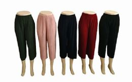 48 of Womens Loose Pleated Capri Pants Assorted Colors