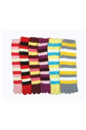 120 of Women's Striped Fuzzy Toe Socks Size 9-11