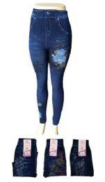 48 of Womens Jean Look Jeggings Tights Slimming Spandex Leggings Pants Capri