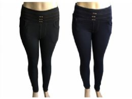 48 of Womens Fur Lined Denim Look Straight Fit Pants