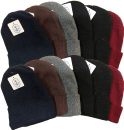 12 of Winter Beanies Toboggan Hat Assorted Colors One Size Unisex