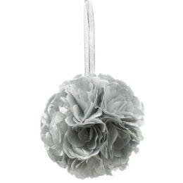 36 of Six Inch Pom Flower Silk Silver